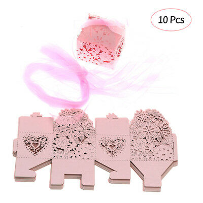 10PCS Delicate Carved Flower Elegant Candy Boxes with Ribbon for Party Z8Q2