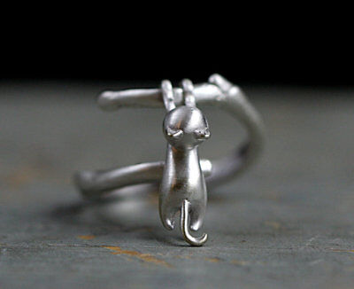 Lovely Cat Silver Plated Ring Kitty pendant Women Party Finger Ring Jewelry Open
