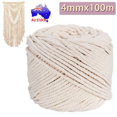 4mm Macrame Rope Natural Beige Cotton Twisted Cord Artisan Hand Craft 100M ON