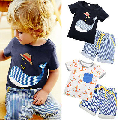 USA Summer Toddler Kids Boys Tops T-shirt Shorts Casual Outfits Set Clothes 2-7T