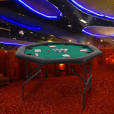 """48"""" Octagon Folding Texas Poker Table Casino Game for 8 Players Green"""