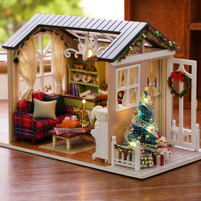 Fai-da-te Christmas Miniature Dollhouse Kit Realistico Mini 3D House House Q7F5
