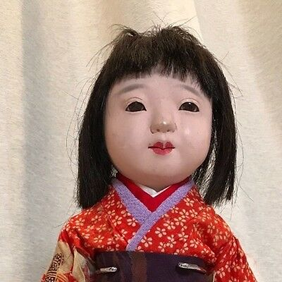 Vintage Japanese girl doll with beautiful red kimono barefoot