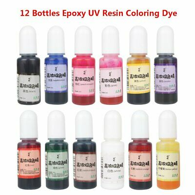 12Pcs Bottle Epoxy Color UV Resin Coloring Dye Colorant Pigment Art Crafts Mix Q