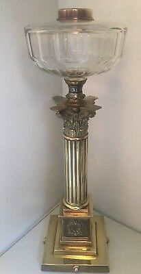 antique huge brass reeded column oil lamp with large cut glass fount