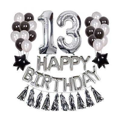 Yoart 13th Birthday Decorations Silver For Boy Party Supplies With H
