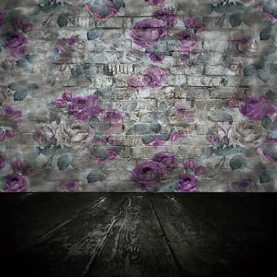 Vintage Flowers Brick Wall & Floor Vinyl Studio Backdrop Prop Background 10x10ft