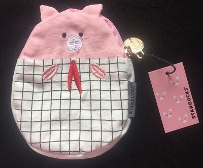 2019 Starbucks Chinese New Year Pink Pig Pouch /  Bag w/ Siren Zipper  -No Card