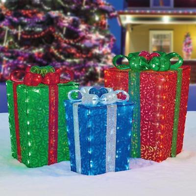 Nestable LED Christmas Gift Box Sculpture, Set of 3 Indoor Outdoor Presents BNIB
