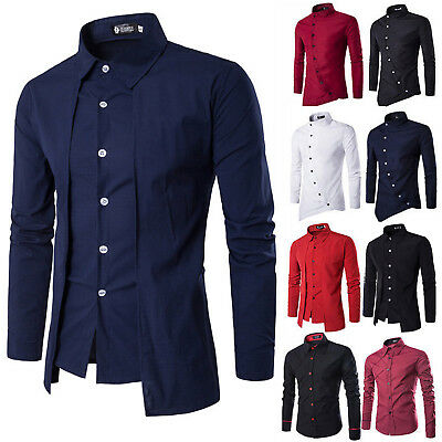 Men's Long Sleeve Button Dress Shirt Tops Slim Fit Luxury Business Formal Shirts