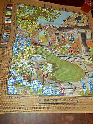 Tapestry Canvas Old World Charm Thatch Cottage Garden Picture Project  Bird Bath