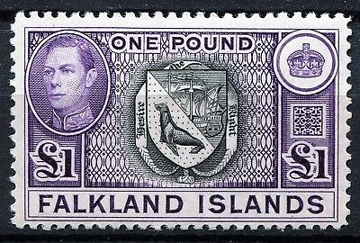 Falkland Islands 1938 issue, SG 163, £1 Black & Violet, Mint Hinged, CV £130