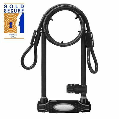 Master Lock Hardened Steel Sold Secure Gold U-Lock plus 1.2m cable 8285 - Black