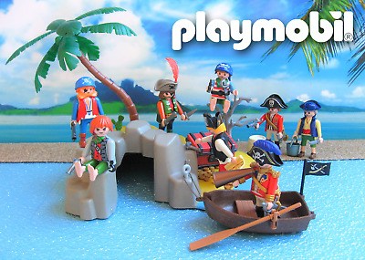 playmobil ® pirates ★ Schatzinsel Set mit 8 Piraten Schatzkiste Ruderboot u.v.m.