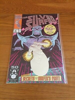 Silver Surfer 50 (Vol3).  Nm- Cond. June 1991. Thanos App, Silver Foil Cover  +1