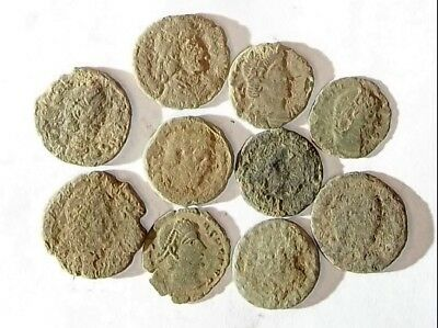 10 ANCIENT ROMAN COINS AE3 - Uncleaned and As Found! - Unique Lot 01106