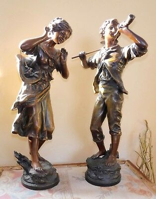 Pair antique French painted bronze spelter figures - Aug. Moreau - 40cm high