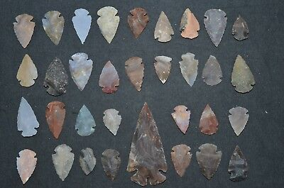 "33 PC Flint Arrowhead EPIC COLOR Points 1-3"" Spear Bow Stone Hunting 2655"