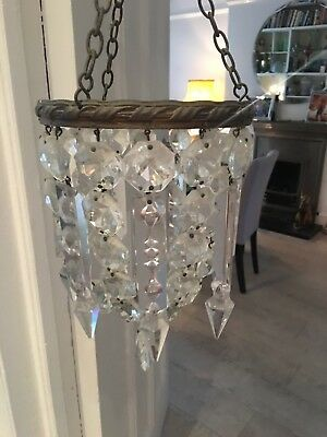 antique spear point crystal small chandelier electric