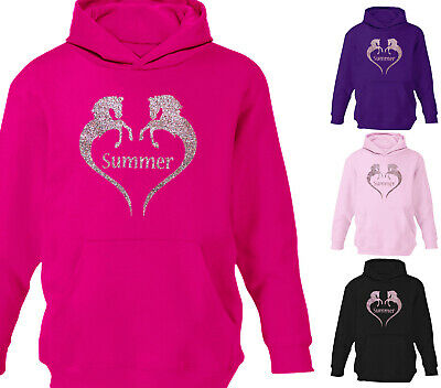 Girls Personalised Horse Riding Hoodie Pearl Multi Glitter Sparkle Hoody