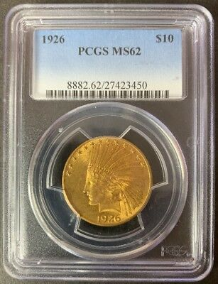 1926 $10 Gold Indian Head Eagle PCGS MS62