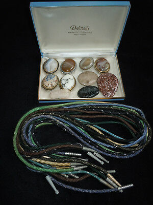 Lot of 10 Vintage Western Style Bolo Ties, Agate, Petrified Wood & Other Stone