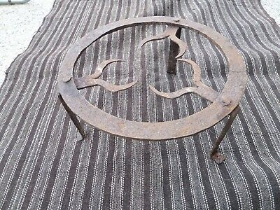 Antique Wrought Iron Kettle Stand Plate Footed Trivet Fireplace Hearth Tool