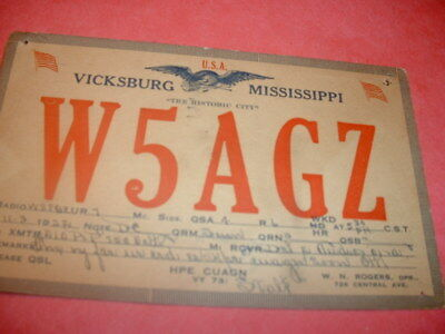 Vicksburg, Mississippi- W5Agz- W.n. Rogers- Central Ave.- 1932- Qsl