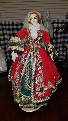 Vintage Czech Princess Heavy Beading Gypsy Doll With Stand