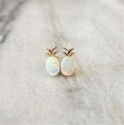 925 Silver White Opal Ear Stud Fruit Pineapple Earrings Women Wedding Jewelry