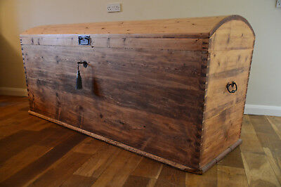 SUPERB Gigantic Victorian Seaman's Dome Pine Chest / Trunk / Blanket Box
