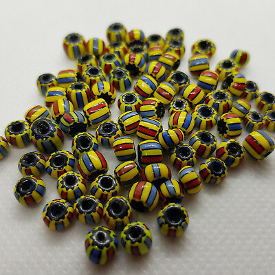 Antique Venetian Glass Striped African Trade Beads for necklace