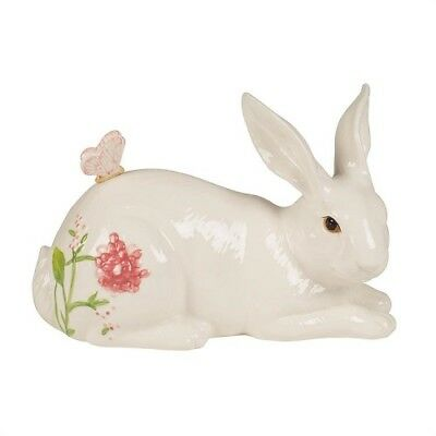NEW!  Fitz and Floyd Cherry Blossom Reclining Rabbit Figurine. Orig Box