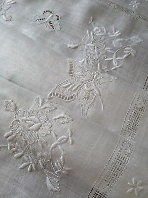 Vintage Hand Embroidered Pina Linen Tray Cloth ~ Insects Roses Butterfly