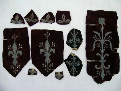Antique embroided metallic brocade flowers and fragments