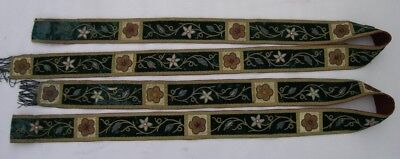 Antique embroided metallic brocade banner fragment (stole)