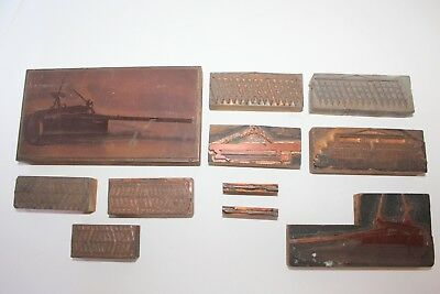 Copper on Wood Printing Press Plates Set Antique 1920s Agriculture Farming 2/2