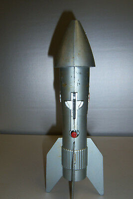 1957 Vintage Mechanical Metal Space Age Rocket Bank, Astro MFG East Detroit
