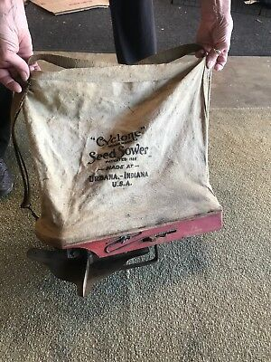 Antique Seed Sower Spreader hand crank cyclone Urbana IN