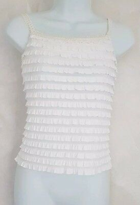 Gorgeous VINTAGE White Womens frill TOP Small ♡ combine post  * A OneOf !