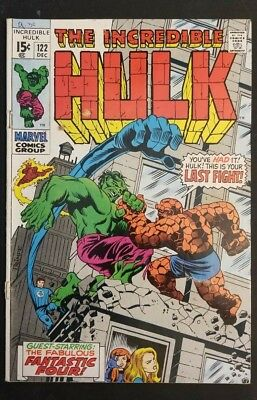 Incredible Hulk #122 Marvel Silver Age HULK vs Thing! Fantastic Four Appearance