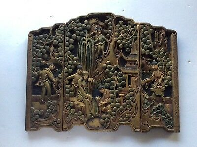 Antique Chinese Hand Carved Gilt Boxwood Three Panel Folding table screen