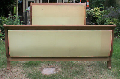 Sleigh Double Bed, Mahogany Unfinished Project Ready For Upholstery and Painting