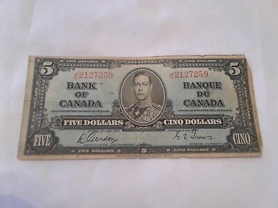 Bank Of Canada 1937 5 Cino Dollar Bill