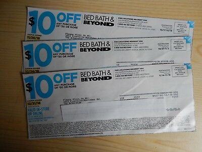 3 Bed Bath & Beyond coupons $10 Off $30 Purchase or More
