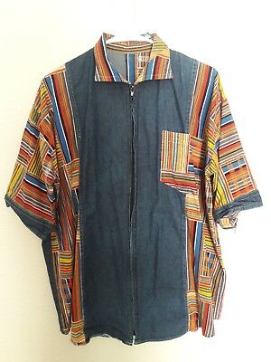 African Print Ikat Tribal Denim Mens Shirt Short Sleeve