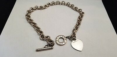 Tiffany & Co. 925 Sterling Silver Heart Pendant Toggle Necklace 15'' Link