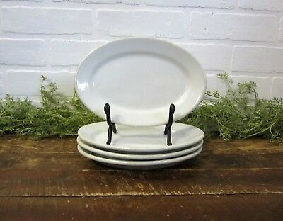 """Set 4 Sterling Vitrified China 8"""" Oval Small Plates Solid White Restaruant ware"""
