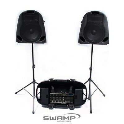 "Portable PA System - Twin 10"" Speakers + 5 Channel Mixer + Stands - 150W"