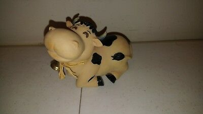 """Whimsical Cow Farm Animal Figurine with bell Resin """"Young's China"""""""